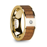 Theodoros 14k Yellow Gold Men's Wedding Band with Teak Wood Inlay & Diamond