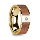 Vangelis 14k Yellow Gold Men's Wedding Band with Cherry Wood Inlay & Diamond