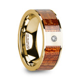 Xanthos 14k Yellow Gold Men's Wedding Band with Mahogany Wood Inlay & Diamond