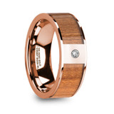 Zenon 14k Rose Gold Men's Wedding Band with Cherry Wood Inlay & Diamond