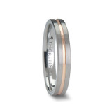 Zena Flat Brushed Tungsten Wedding Band with Rose Gold Channel