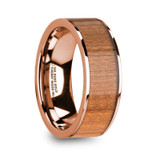 Zacheus 14k Rose Gold Men's & Cherry Wood Inlay Flat Wedding Band