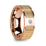 Zachaios Flat 14k Rose Gold Men's Wedding Band with Ash Wood Inlay & Diamond
