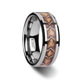 Viper Tungsten Wedding Band with Boa Snake Skin Design Inlay