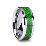 Vermont Tungsten Wedding Band with Emerald Green Carbon Fiber Inlay