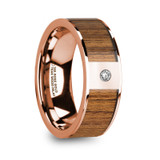 Vasilis 14k Rose Gold Men's Wedding Band with Teak Wood Inlay & Diamond