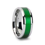 Vardon Tungsten Wedding Band with Textured Green Inlay