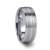 Vancouver Triple Grooved White Tungsten Wedding Band