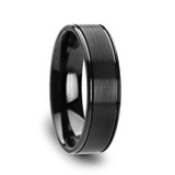 Turner Flat Brushed Center Black Tungsten Wedding Band with Offset Grooves