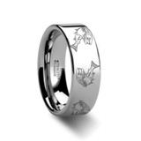 Trout Fish Jumping Sea Print Pattern Engraved Flat Tungsten Wedding Band