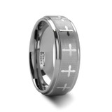 Trinity Raised Center with Engraved Crosses Tungsten Wedding Band
