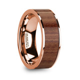 Titos 14k Rose Gold Men's Wedding Band with Rosewood Inlay