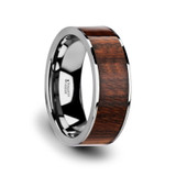 Thraco Flat Tungsten Wedding Band with Carpathian Wood Inlay