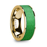 Therios Flat 14k Yellow Gold Men's Wedding Band with Textured Green Inlay