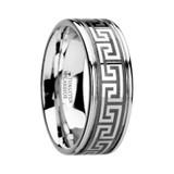 Thasos Grooved Tungsten Wedding Band with Greek Key Meander Design