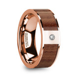 Thanasis 14k Rose Gold Men's Wedding Band with Rosewood Inlay & Diamond