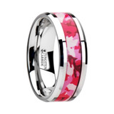 Tango Tungsten Wedding Band with Pink & White Camouflage Inlay