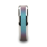 Stingray Tungsten Wedding Band with Blue/Purple Color Changing Inlay