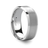 Sterling Brushed Square Shape White Tungsten Wedding Band