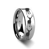 Stag Fawn Deer Elk Print Engraved Flat Tungsten Wedding Band