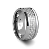 Springfield Tungsten Wedding Band with White Carbon Fiber Inlay