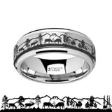 Spinning Spinner Engraved Deer Stag Mountain Range Tungsten Wedding Band