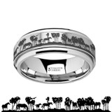 Wild Horse Scene Spinner Tungsten Wedding Band