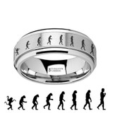 Human Evolution Spinner Tungsten Wedding Band