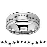 Flying Birds Spinner Tungsten Wedding Band