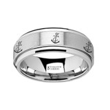 Artistic Anchor Spinner Tungsten Wedding Band