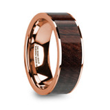 Soterios Flat 14k Rose Gold Men's Wedding Band with Bubinga Wood Inlay