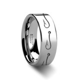 Simple Artistic Fishing Hook Pattern Engraved Flat Tungsten Wedding Band