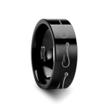 Simple Artistic Fishing Hook Pattern Flat Black Tungsten Wedding Band
