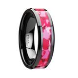 Sierra Black Ceramic Wedding Band with Pink & White Camouflage Inlay