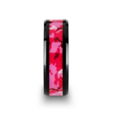 Sierra Black Ceramic Wedding Band with Pink & White Camouflage Inlay