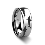 Shark Predator Fish Sea Print Pattern Engraved Flat Tungsten Wedding Band