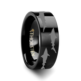 Shark Predator Fish Sea Print Pattern Flat Black Tungsten Wedding Band