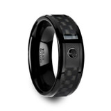 Aberdeen Black Ceramic Wedding Band with Black Carbon Fiber Inlay & Black Diamond