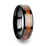 Acacia Black Ceramic Wedding Band with Koa Wood Inlay