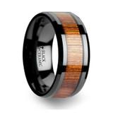 Acacia Black Ceramic Wedding Band with Koa Wood Inlay