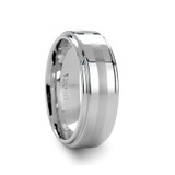 Adair Brushed Stripe White Tungsten Wedding Band with Raised Center