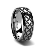 Addison Domed Tungsten Wedding Band with Celtic Knot Design