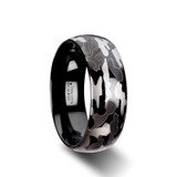 Admiral Domed Black Tungsten Wedding Band with Black & Gray Camouflage Pattern