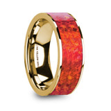 Aembrus Flat 14k Yellow Gold Men's Wedding Band with Red Opal Inlay