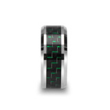 Aetius Tungsten Wedding Band with Black & Green Carbon Fiber Inlay