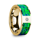 Alexis Flat 14k Yellow Gold Men's Wedding Band with Green/Blue Opal Inlay & Diamond