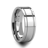 Anchorage Tungsten Wedding Band with Offset Grooves