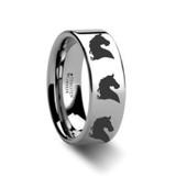 Animal Horse Head Print Engraved Flat Tungsten Wedding Band