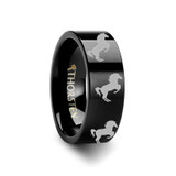 Animal Horse Hind Legs Print Flat Black Tungsten Wedding Band