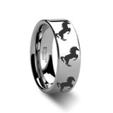 Animal Horse Hind Legs Print Engraved Flat Tungsten Wedding Band